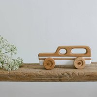 Wooden Toy Car Station Wagon White