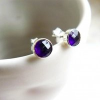 Birthstone Stud Earrings February: Amethyst And Silver, Silver
