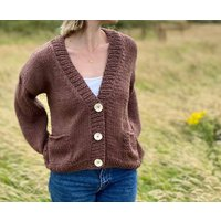 The Astara Wool And Organic Cotton Cardigan In Brown
