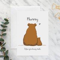 Mummy And Baby Bear A5 Card, Bright Pink/Pink/Aqua