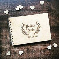 Laurel Floral Woodland Wedding Guestbook, White/Grey/Light Brown