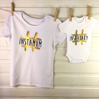 Instamum And Instababy Gold Mother And Child Set, White/Gold/Black