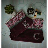Personalised Liberty Print Make Up Bag, Olive/Pink/Green