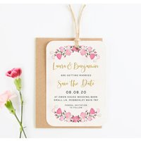 Pink Flowers Save The Date Tag
