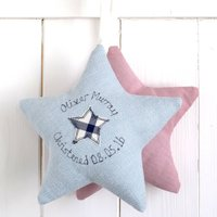 Personalised Christening Star, Cream/Pink/Red