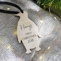 Personalised Penguin First Christmas Hanging Decoration