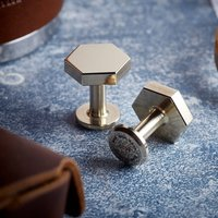 Bill Hexagon Bronze Cufflinks With Personalised Pouch