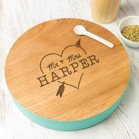 Personalised Couples Heart And Arrow Solid Wood Platter, White/Grey/Sage