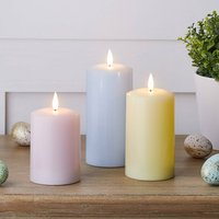 Trio Of Pastel LED Wax Candles