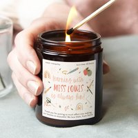 Personalised Teacher Gift Thank You Colourful Candle