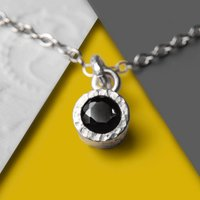 Black Spinel Textured Silver Necklace, Silver