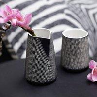 Ceramic Black Etched Jug, Blue