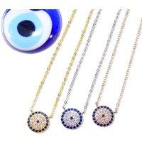 Medium Lucky Evil Eye Necklace 925 Silver, Rose, Gold, Silver