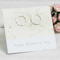 Mother's Day Hammered Silver Circle Stud Earrings, Silver