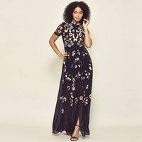 Josie Short Sleeve High Neck Embroidered Maxi Dress