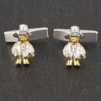 Paddington Bear Cufflinks In 18 Carat Gold Vermeil, Gold