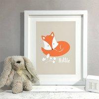 Fox Personalised Name Nursery Kids Room Print, Cream/Mint/Yellow