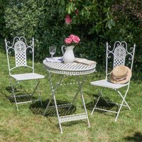 Vintage Ivory Three Piece Bistro Table And Chairs Set