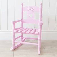 Personalised Pink Wooden Kids Rocking Chair, Pink