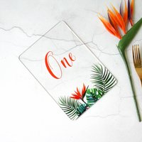 Tropical Hothouse Wedding Table Number