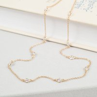 Sofia Long Cubic Zirconia And Gold Necklace, Gold