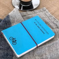 Personalised Leather Cycling/Travel Journal, Avocado
