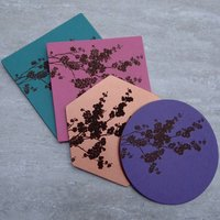 Blossom Engraved Leather Coaster