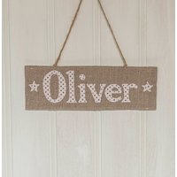 Personalised Linen And Blue Star Door Hanger, Blue