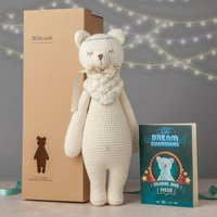 Personalised Hand Knitted Foxxie Teddy And Story Book