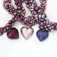 Murano Heart And Pearl Necklace In Purple Or Amethyst