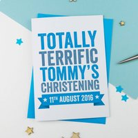 Personalised Boy Or Girl Christening Card, Pink/Blue