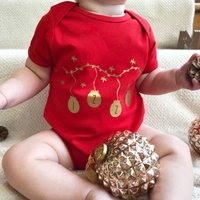Personalised Baubles First Christmas Babygrow