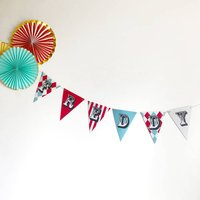 Vintage Circus Name Bunting, Red/Turquoise