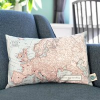 World, USA Or Europe Map Cushion With Printed Message