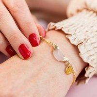 Personalised Rose Quartz Half Moon Bracelet