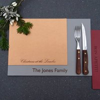 Personalised Leather Christmas Placemats, Copper/Silver/Green
