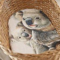 Organic Koala Muslin Swaddle Set / Flat Crib Sheet