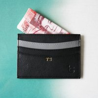 Personalised Mens Luxury Gift Leather Card Sleeve, Grey/Black/Tan