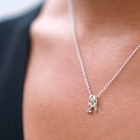 Mini Silver Number Necklace, Silver