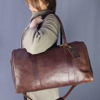 Watkins Leather Twin Handle Zip Top Travel Bag Conker