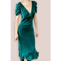 Ruched Detail Dress In Peacock Silk Velvet