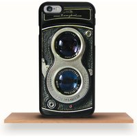Retro Dual Lens Camera iPhone Case, Black/White