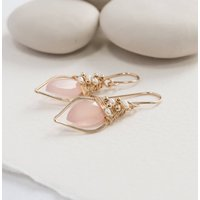 Pink Chalcedony Quartz Leaf Hoop With Freshwater Pearls, Pink