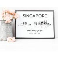 Singapore Skyline Illustrated Art Print