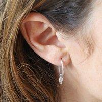 Sterling Silver Wing Charm Hoop Earrings, Silver