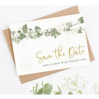 White Floral Folded Save The Date