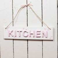 Kitchen Sign, Pink/White