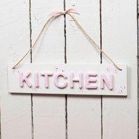 Kitchen Sign, Pink/White