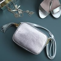 Silver Leather Cross Body Camera Handbag With Tassel