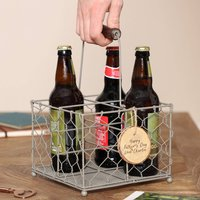 Dads Personalised Wire Beer Bottle Carrier